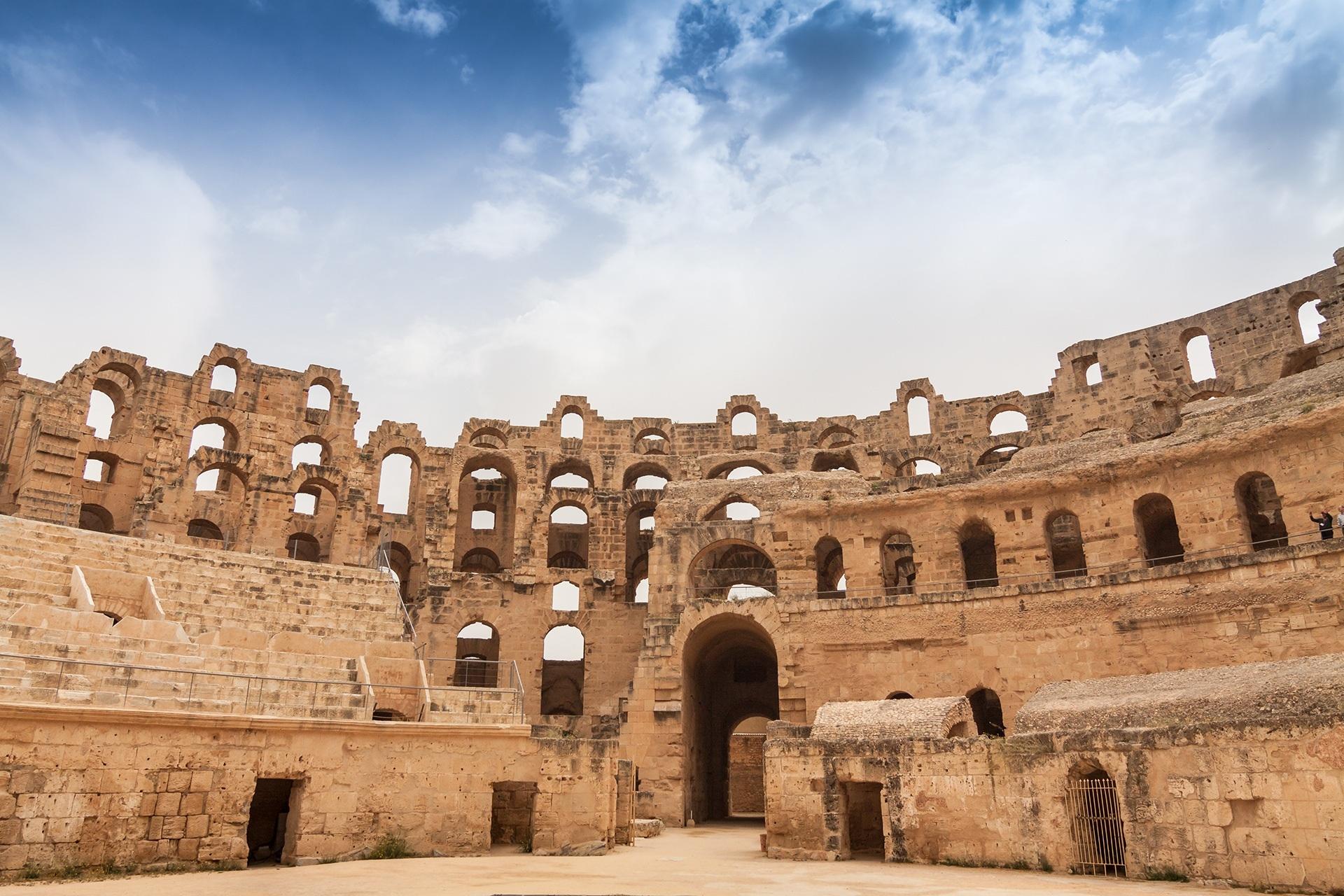 Africa, free, photo, architecture, antiquity, archeology, amphitheater, gladiators, ruin, stone, sky, tourism, travel