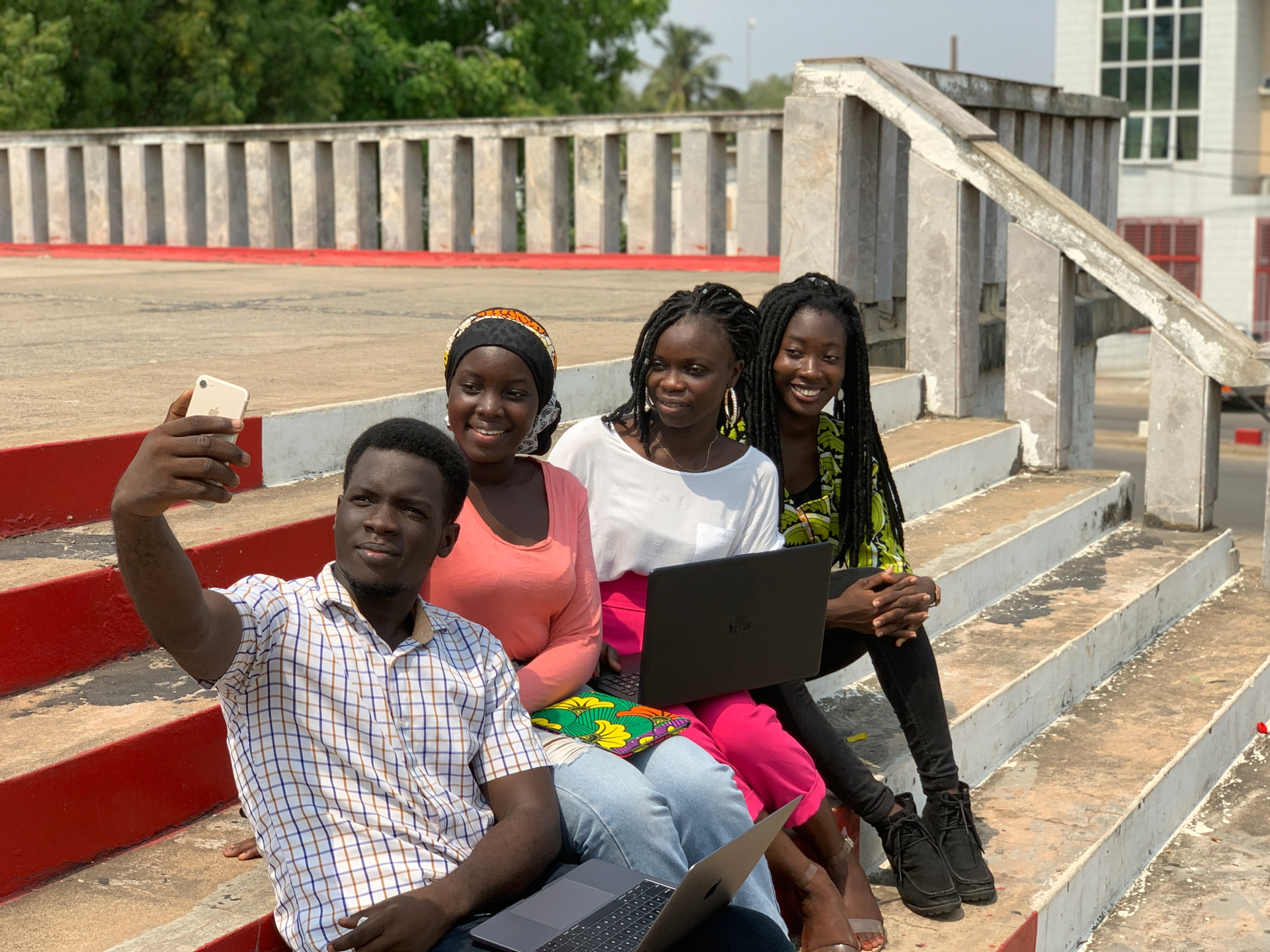 Africa, free, photo, happiness, selfie, friends, team, joy, computer, laptop, smile, colleagues, team, public square, focus, people, facial expression, man, women, notebook